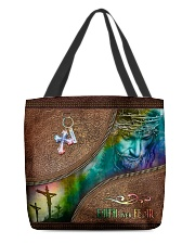 Faith Over Fear Leather Pattern Print All-over Tote front