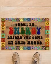 "Check Ya Energy Coir Pattern Print Doormat 22.5"" x 15""  aos-doormat-22-5x15-lifestyle-front-02"