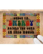 "Check Ya Energy Coir Pattern Print Doormat 22.5"" x 15""  aos-doormat-22-5x15-lifestyle-front-05"