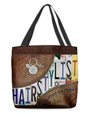 Hairstylist leather pattern print All-over Tote front