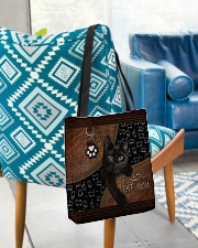 Cat Mom Leather Pattern Print All-over Tote aos-all-over-tote-lifestyle-front-01