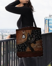 Cat Mom Leather Pattern Print All-over Tote aos-all-over-tote-lifestyle-front-05