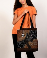 Cat Mom Leather Pattern Print All-over Tote aos-all-over-tote-lifestyle-front-06
