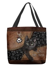 Cat Mom Leather Pattern Print All-over Tote back