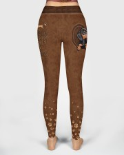 Dachshund Leather Pattern Print High Waist Leggings aos-high-waist-leggings-lifestyle-02