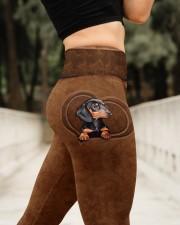 Dachshund Leather Pattern Print High Waist Leggings aos-high-waist-leggings-lifestyle-11