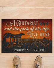 """Personalized Guitarist And The Pick Live Here Doormat 22.5"""" x 15""""  aos-doormat-22-5x15-lifestyle-front-02"""