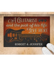 """Personalized Guitarist And The Pick Live Here Doormat 22.5"""" x 15""""  aos-doormat-22-5x15-lifestyle-front-05"""