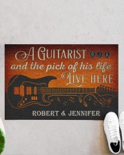 """Personalized Guitarist And The Pick Live Here Doormat 22.5"""" x 15""""  aos-doormat-22-5x15-lifestyle-front-06"""