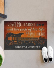 """Personalized Guitarist And The Pick Live Here Doormat 22.5"""" x 15""""  aos-doormat-22-5x15-lifestyle-front-07"""