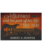 """Personalized Guitarist And The Pick Live Here Doormat 22.5"""" x 15""""  front"""