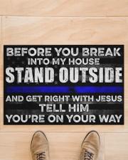 "Blue Jesus Before You Break Into My House 19  Doormat 22.5"" x 15""  aos-doormat-22-5x15-lifestyle-front-02"