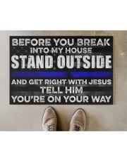 "Blue Jesus Before You Break Into My House 19  Doormat 22.5"" x 15""  aos-doormat-22-5x15-lifestyle-front-04"