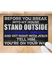 "Blue Jesus Before You Break Into My House 19  Doormat 22.5"" x 15""  aos-doormat-22-5x15-lifestyle-front-05"