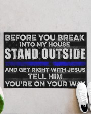 "Blue Jesus Before You Break Into My House 19  Doormat 22.5"" x 15""  aos-doormat-22-5x15-lifestyle-front-06"