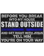 """Blue Jesus Before You Break Into My House 19  Doormat 22.5"""" x 15""""  front"""