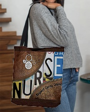 Nurse Respect Caring Courage Leather Pattern All-over Tote aos-all-over-tote-lifestyle-front-09