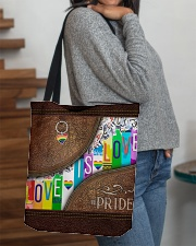 Love Is Love Leather Pattern Print All-over Tote aos-all-over-tote-lifestyle-front-09