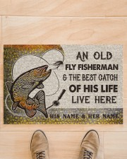"""Personalized Fly Fishing Best Catch Of His Live Doormat 22.5"""" x 15""""  aos-doormat-22-5x15-lifestyle-front-02"""