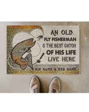 """Personalized Fly Fishing Best Catch Of His Live Doormat 22.5"""" x 15""""  aos-doormat-22-5x15-lifestyle-front-04"""