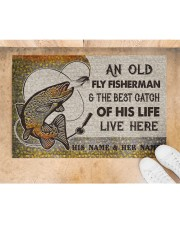 """Personalized Fly Fishing Best Catch Of His Live Doormat 22.5"""" x 15""""  aos-doormat-22-5x15-lifestyle-front-05"""