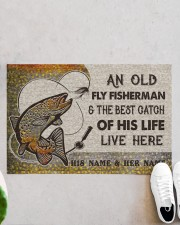"""Personalized Fly Fishing Best Catch Of His Live Doormat 22.5"""" x 15""""  aos-doormat-22-5x15-lifestyle-front-06"""