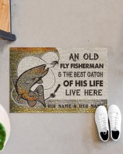 """Personalized Fly Fishing Best Catch Of His Live Doormat 22.5"""" x 15""""  aos-doormat-22-5x15-lifestyle-front-07"""
