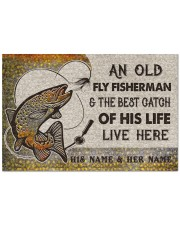 """Personalized Fly Fishing Best Catch Of His Live Doormat 22.5"""" x 15""""  front"""