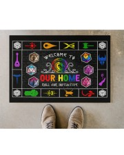 """Lgbt Game Roll For Initiative Doormat 22.5"""" x 15""""  aos-doormat-22-5x15-lifestyle-front-04"""