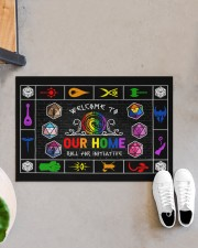 """Lgbt Game Roll For Initiative Doormat 22.5"""" x 15""""  aos-doormat-22-5x15-lifestyle-front-07"""