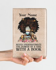 Never Underestimate The Power Of A Girl Notebooks  Medium - Leather Notebook aos-medium-leather-notebook-lifestyle-front-01