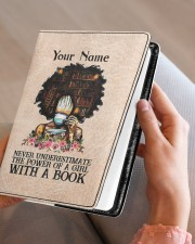 Never Underestimate The Power Of A Girl Notebooks  Medium - Leather Notebook aos-medium-leather-notebook-lifestyle-front-05
