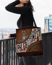Phlebotomist Leather Pattern Print All-over Tote aos-all-over-tote-lifestyle-front-05