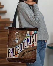 Phlebotomist Leather Pattern Print All-over Tote aos-all-over-tote-lifestyle-front-09