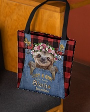 Personalized Sloth Just A Girl All-over Tote aos-all-over-tote-lifestyle-front-02