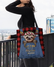 Personalized Sloth Just A Girl All-over Tote aos-all-over-tote-lifestyle-front-05