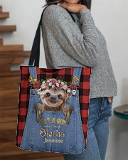 Personalized Sloth Just A Girl All-over Tote aos-all-over-tote-lifestyle-front-09