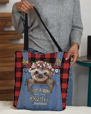 Personalized Sloth Just A Girl All-over Tote aos-all-over-tote-lifestyle-front-10