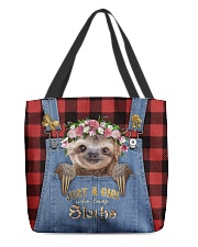 Personalized Sloth Just A Girl All-over Tote back