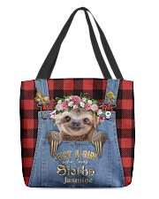 Personalized Sloth Just A Girl All-over Tote front