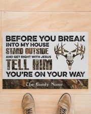 """Before You Break Into My House Stand Outside  Doormat 22.5"""" x 15""""  aos-doormat-22-5x15-lifestyle-front-02"""