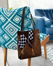 Racing Leather Pattern Print V2 All-over Tote aos-all-over-tote-lifestyle-front-01