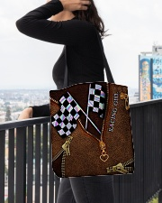 Racing Leather Pattern Print V2 All-over Tote aos-all-over-tote-lifestyle-front-05