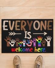 "Lgbt Everyone Is Welcome Here Doormat 22.5"" x 15""  aos-doormat-22-5x15-lifestyle-front-02"