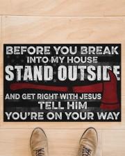 "Firefighter Jesus Before You Break Into My House  Doormat 22.5"" x 15""  aos-doormat-22-5x15-lifestyle-front-02"