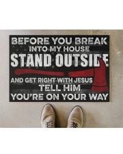 "Firefighter Jesus Before You Break Into My House  Doormat 22.5"" x 15""  aos-doormat-22-5x15-lifestyle-front-04"