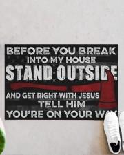 "Firefighter Jesus Before You Break Into My House  Doormat 22.5"" x 15""  aos-doormat-22-5x15-lifestyle-front-06"