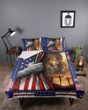 Jesus And Lion The Perfect Combination Queen Quilt Bed Set aos-queen-quilt-bed-set-lifestyle-front-02
