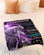 """To My Daughter Wolf Dad Small Fleece Blanket - 30"""" x 40"""" aos-coral-fleece-blanket-30x40-lifestyle-front-01"""