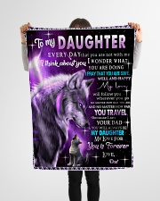 """To My Daughter Wolf Dad Small Fleece Blanket - 30"""" x 40"""" aos-coral-fleece-blanket-30x40-lifestyle-front-14"""